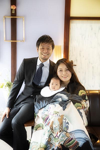 宮参り家族写真
